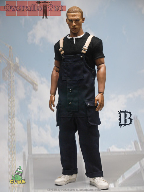 [CK-M011B] 1/6 Black Overalls Set by Cuke Toys