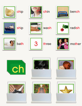 Phonogram Pictures Cards for Nienhuis Double Sandpaper Letters - sku LAP.03GN - 1