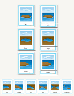Formas de Tierra y Agua  Three-part cards for land and water forms  in Spanish) - sku GP.02S - 1