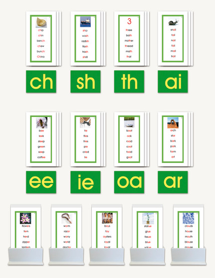 Phonogram Word Lists for Nienhuis Double Sandpaper Letters - sku LAP.06GN - 1