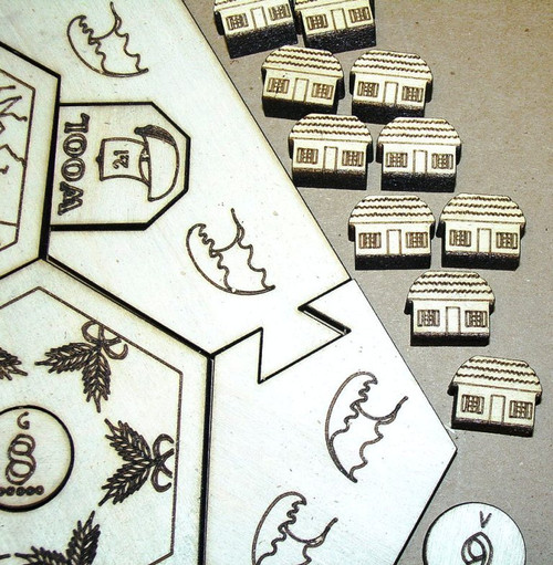 SETTLERS OF CATAN GAME ENGRAVED SET #19 - 19 HEXAGONS