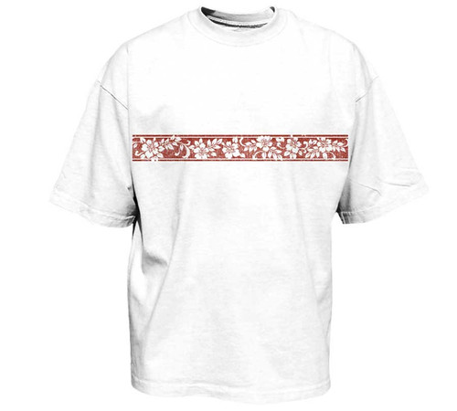 White shirt with red mini-band graphic print