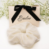 White velvet silk scrunchie with limited edition gift box