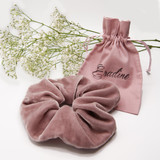 Rose Velvet Silk Oversize Hair Scrunchie