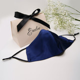 Navy Silk Satin Face Mask - select Gift Box during checkout.