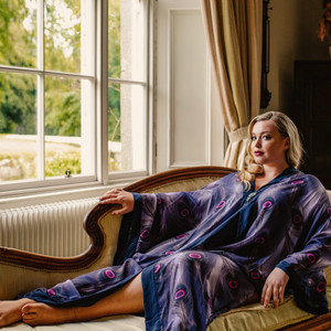 Alseid Peacock luxurious silk satin loungewear. Worn by Emma at Colebrooke Manor.