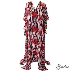 Nereid fire silk cover up kaftan, front profile.