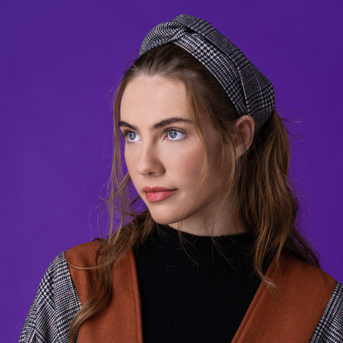 Cashmere Wool Check Turban Headband