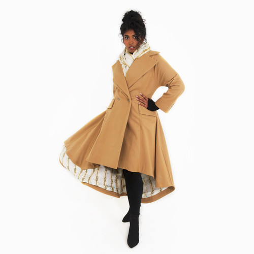 Camel Coat with Printed Silk Lining