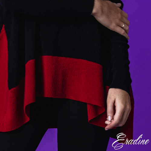 Black and Red Cashmere Ribbing