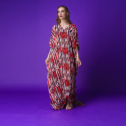 Fire Nereid Kaftan in 100% Silk
