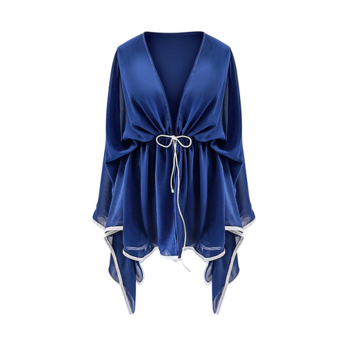 Blue Chiffon Short Cover Up