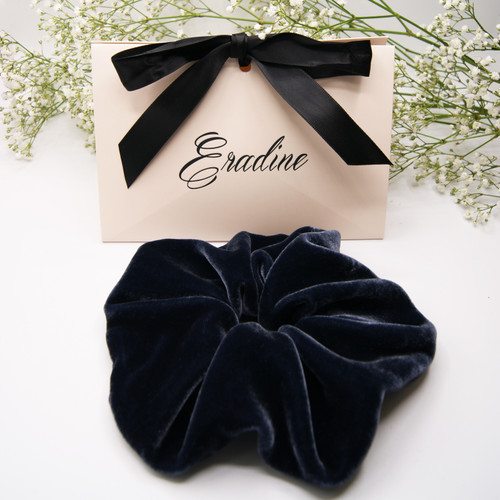 Oversized Midnight Blue Silk Velvet Hair Scrunchie