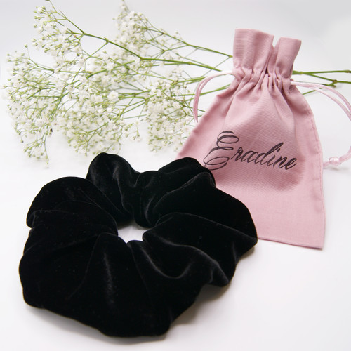 Black Silk Velvet Scrunchie