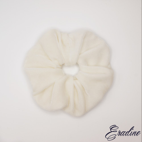 White silk velvet scrunchie