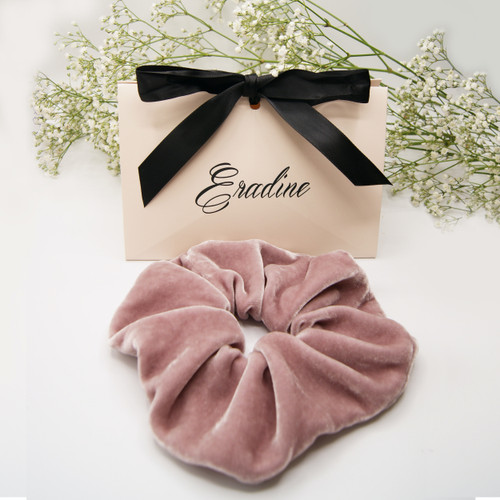 Rose Pink Velvet Silk Scrunchie