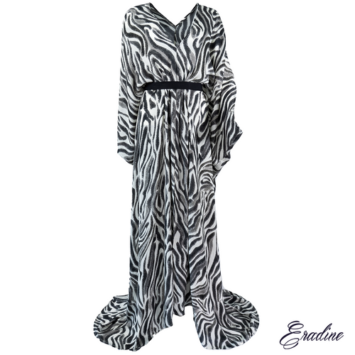 Artemis Zebra silk kaftan front profile with silk belt.
