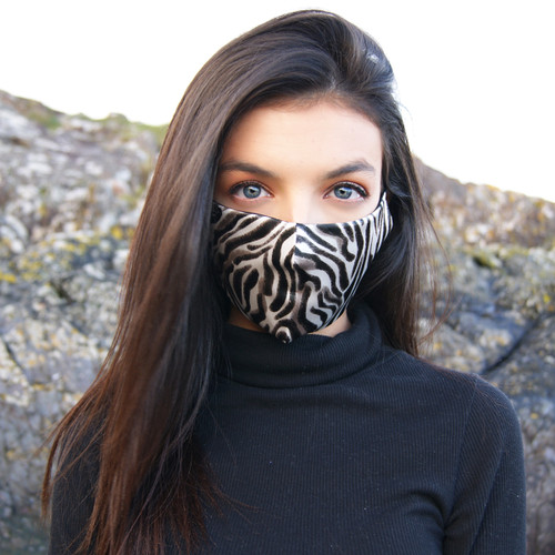 Zebra Face Mask on Model