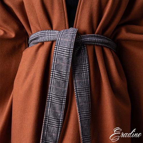 Burnt Orange Cashmere Cape with reversible belt