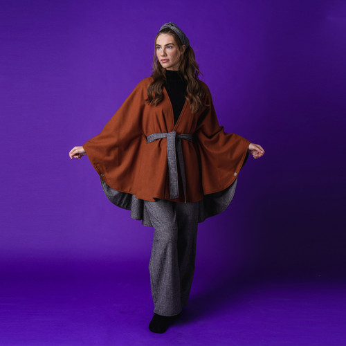 Burnt Orange Cashmere Cape Reversible