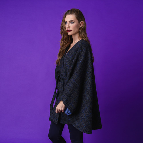 Oxford Blue Tweed Cape