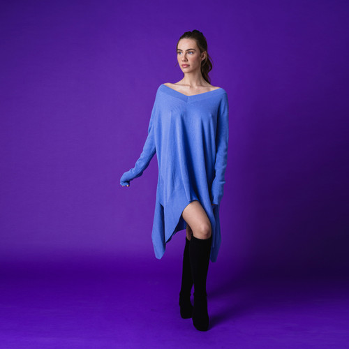Blue Cashmere Waterfall Top