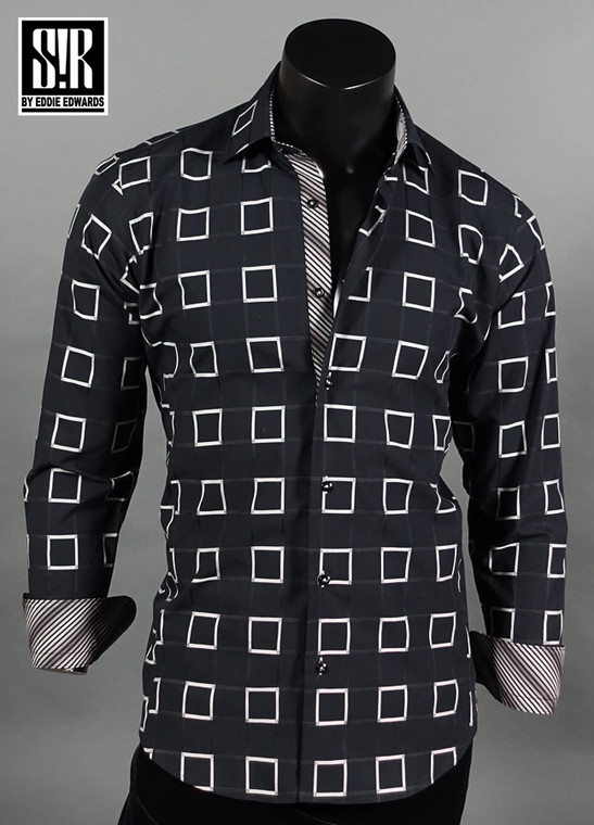 Black and Silver Squares over Black, with matching Stripes