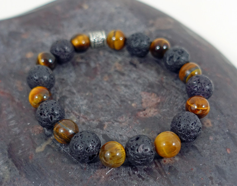 Tiger Eye with Black Lava Stone