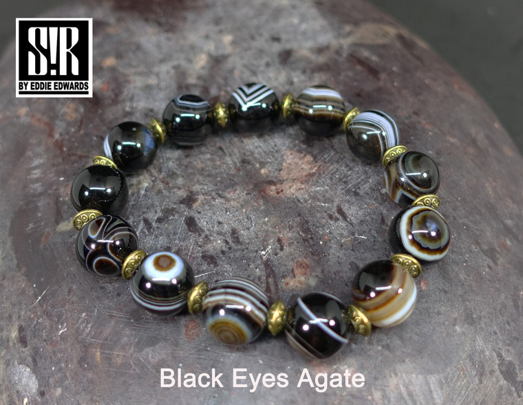 Black Eyes Agate Round Beads