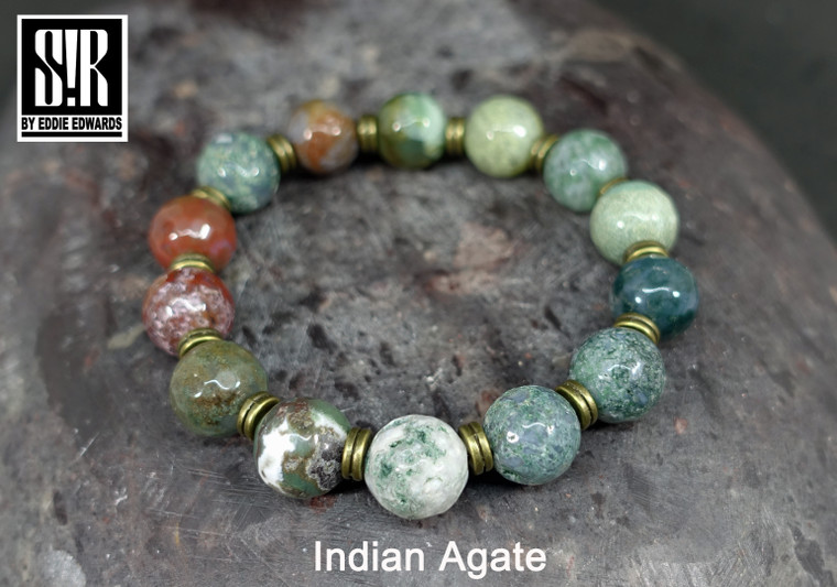 Faceted Indian agate round beads