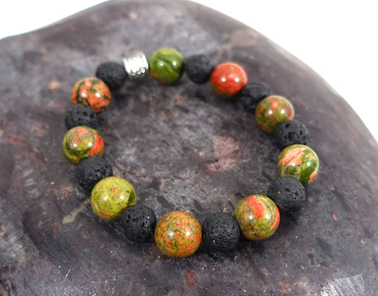 Green Unakite Jasper with Black Lava Stone