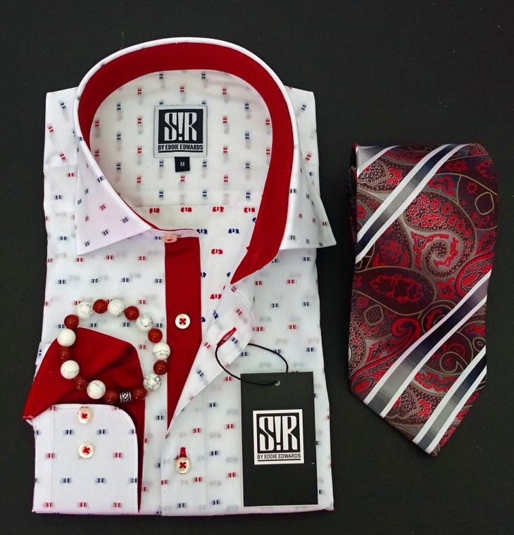 White & Carmine Red