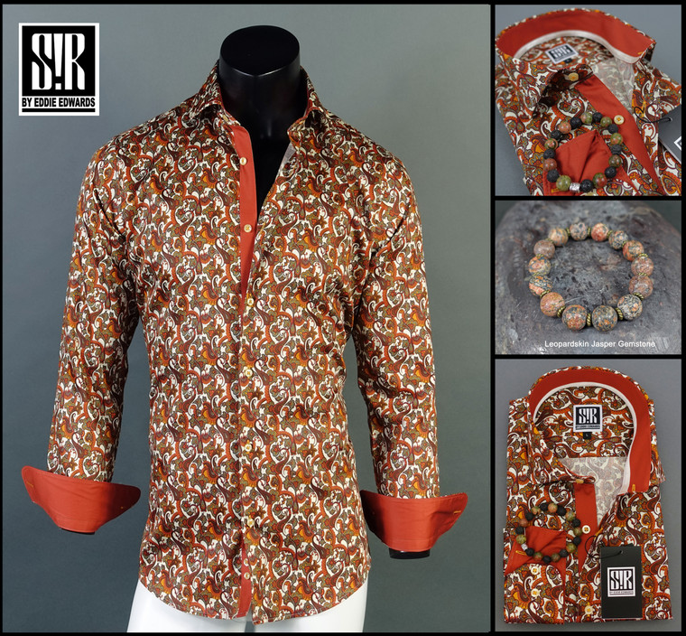 Rust over Multicolor Paisley (Rust, Mandarin, Dark Red, Charcoal Grey over White)