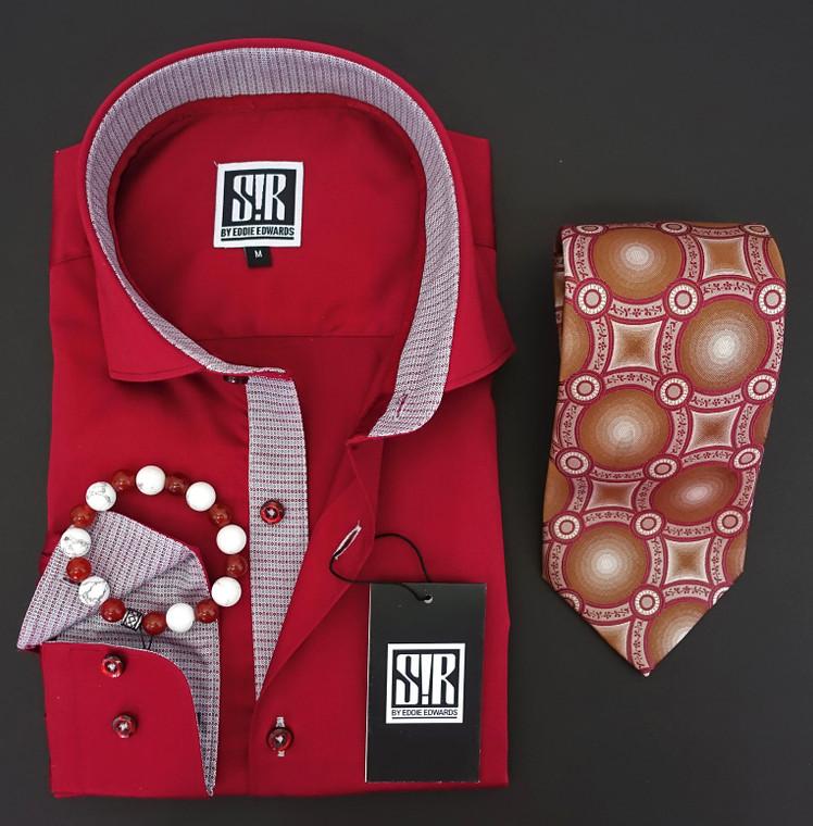 Carmine Red & Silver