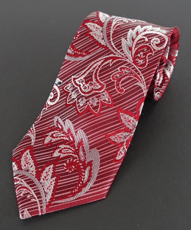 Red & Silver leaf pattern over Red & Silver stripes
