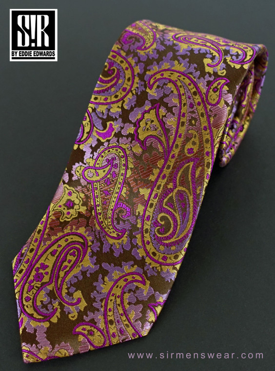 Finely detailed, large paisley in Raspberry, Orchid and Gold over Chocolate