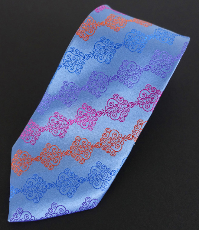 Tri-color micropattern repeat over Sky Blue
