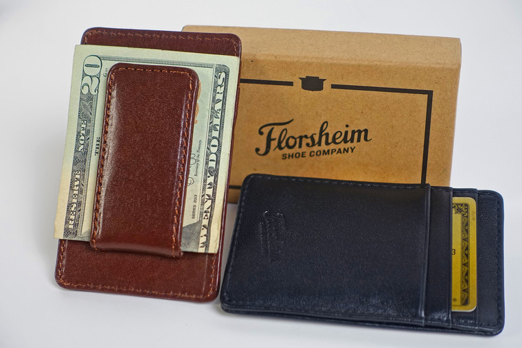 Leather-Wrapped Magnetic Money Clip Card Case (Brown)