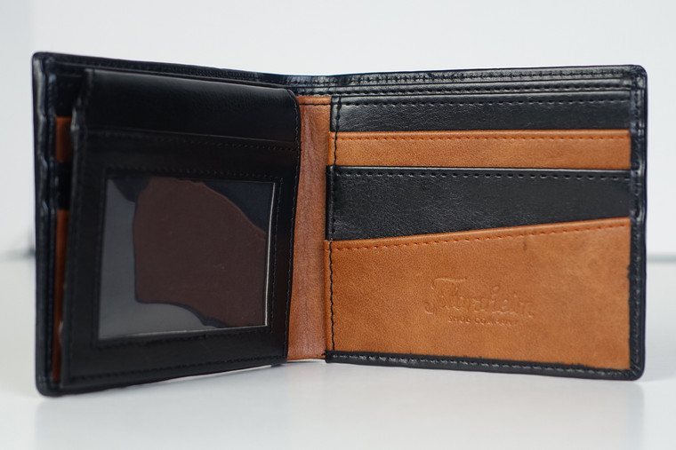 Florsheim black w tan pas case wallet inner flap