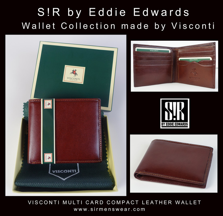 VISCONTI MULTI CARD COMPACT LEATHER WALLET (Burgundy)