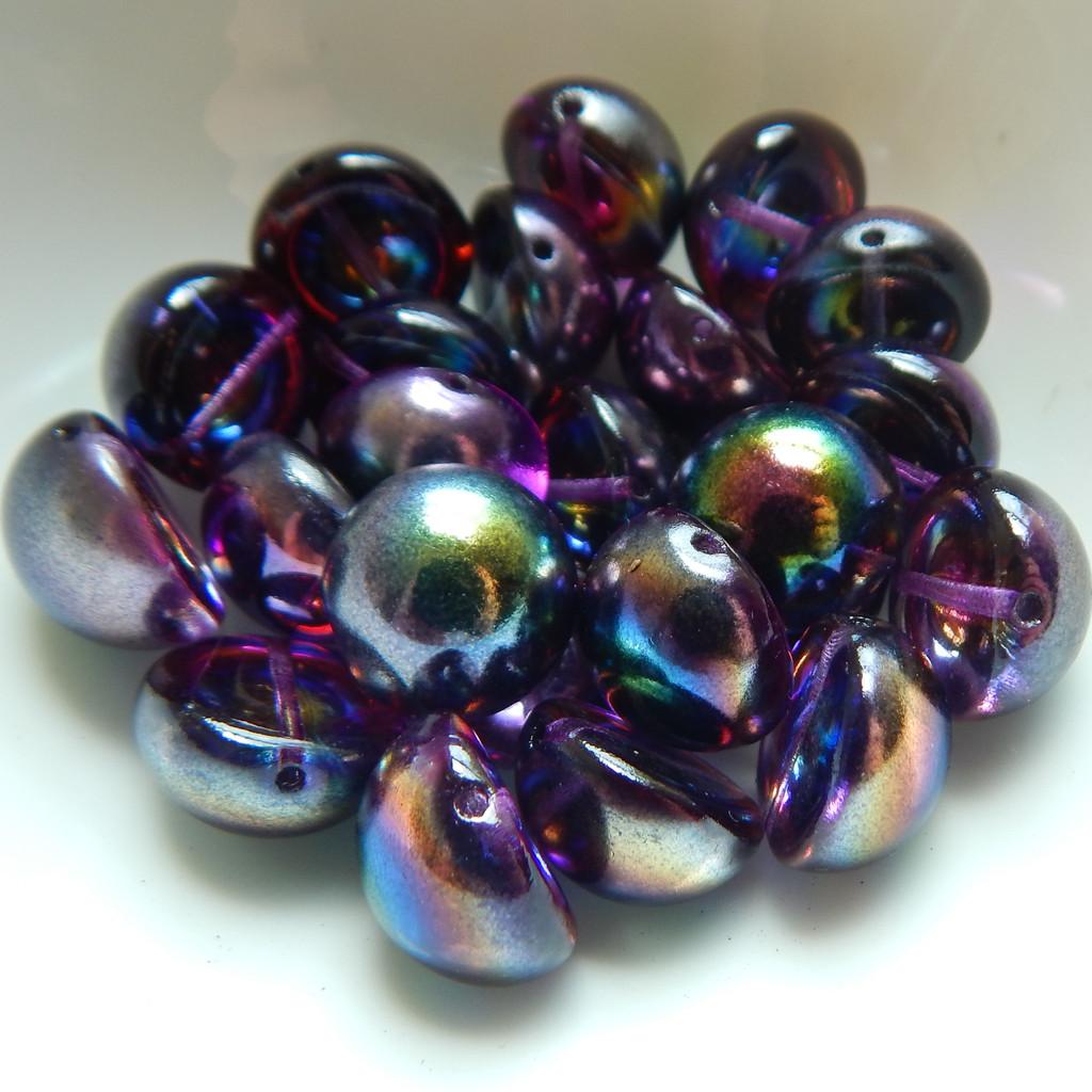 14mm Dome Czech Glass Crystal Magic Purple (5 beads)