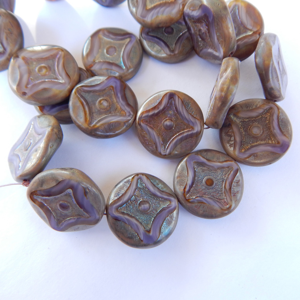 2 Beads - 21mm Coin Twinkle Diamond Center, Table Cut, Purple Picasso, Czech Glass