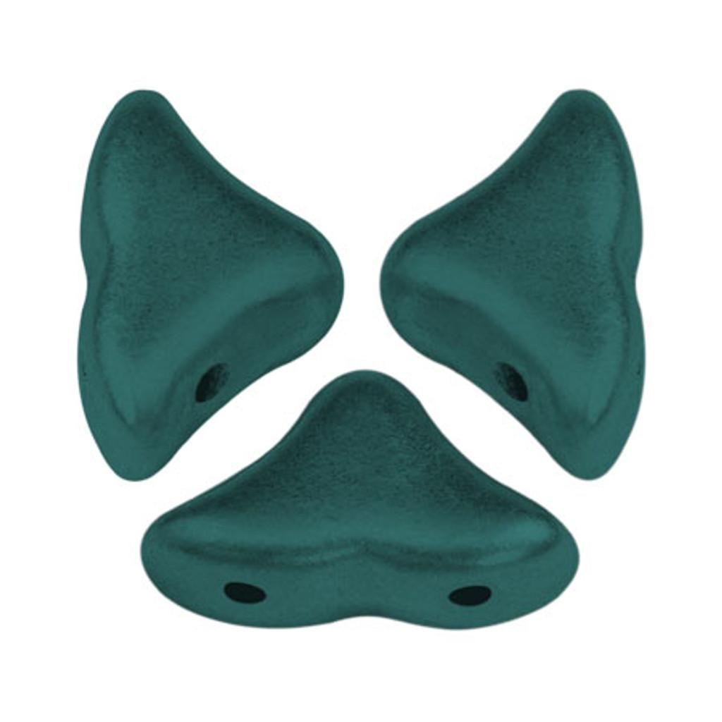 20 Beads - Helios® par Puca® Paris - Metallic Matte Green Turquoise - Czech Glass
