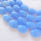 12x15mm Dimpled Oval Milky Blue (10 beads) Czech Glass Beads