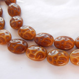 12x15mm Dimpled Oval Tan Brown (10 beads) Czech Glass Beads