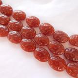 12x15mm Dimpled Oval Carnelian Color (10 beads) Czech Glass Beads