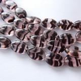11x16mm Smooth Oval Pink Dark Amethyst Stripe (10 beads) Czech Glass Beads