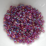 4mm Magatama Drop Fuchsia Lined Aqua AB 25 Grams Miyuki Glass Bead