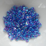 4mm Magatama Drop Fuchsia Lined Blue Ab 25 Grams Miyuki Glass Bead