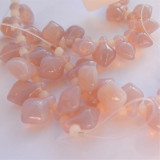 11x8mm Spade Milky Light Amethyst (10 beads) Czech Glass Beads